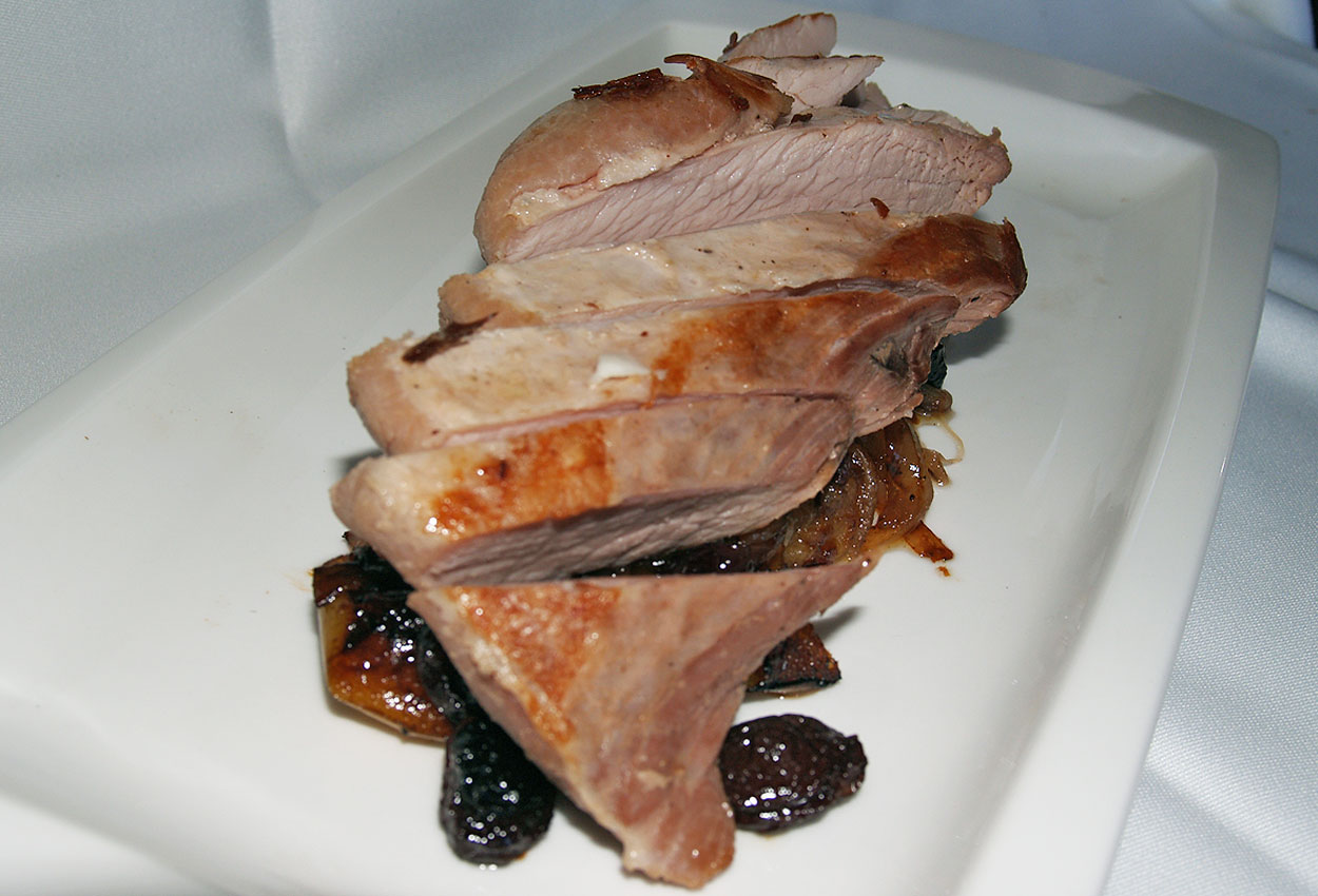 Pork cut with plums